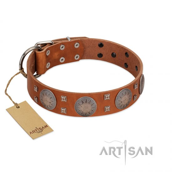 """Sun Rise Noon"" FDT Artisan Tan Leather American Bulldog Collar with Unique Design"