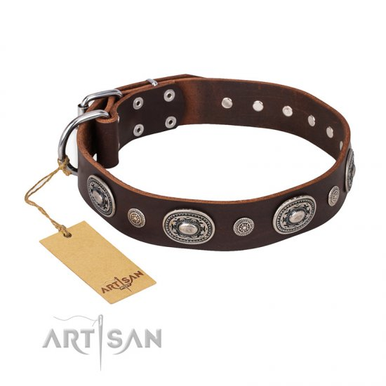 """Extra Pizzazz"" FDT Artisan Adorned Brown Leather American Bulldog Collar"