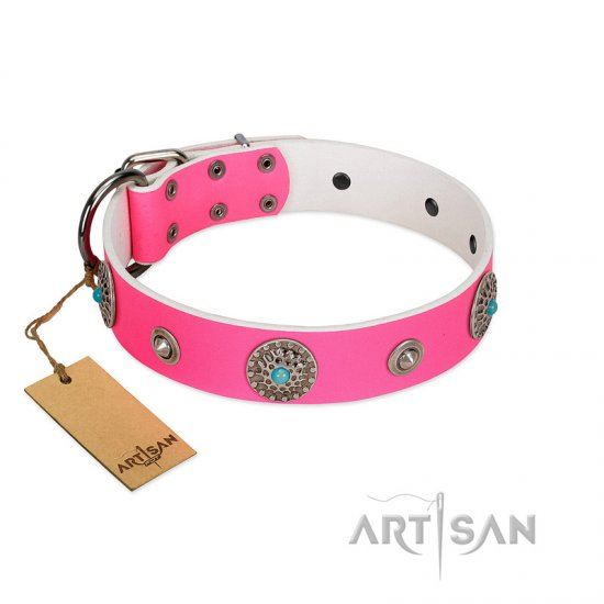 """Chili Mood"" Designer Handmade FDT Artisan Pink Leather American Bulldog Collar"