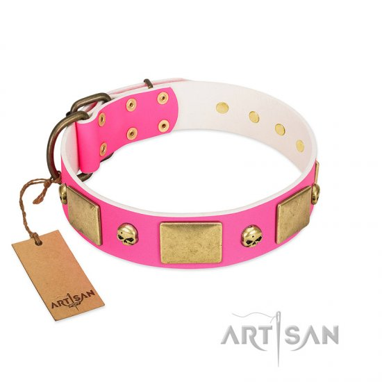 """Glammy Voyage"" FDT Artisan Pink Leather American Bulldog Collar with Stylish Bronze-like Decorations"