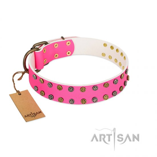 """Blushing Star"" FDT Artisan Pink Leather American Bulldog Collar with Two Rows of Small Studs"