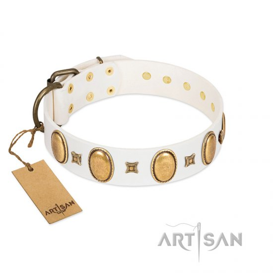 """Chichi Pearl"" Designer Handmade FDT Artisan White Leather American Bulldog Collar with Ovals and Studs"