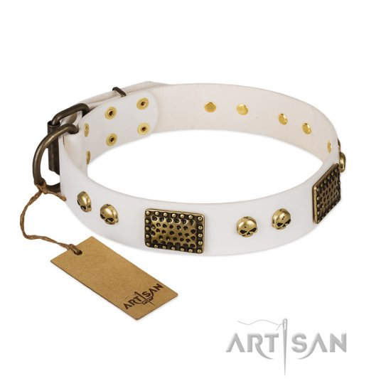 """Lost Treasures"" FDT Artisan White Leather American Bulldog Collar with Old Bronze Look Plates and Skulls"