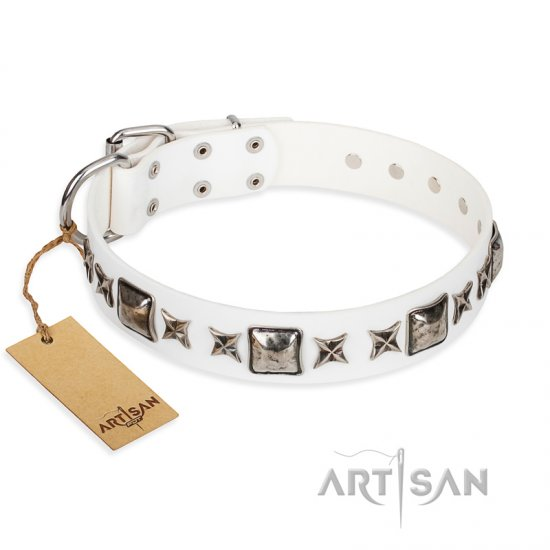 """Intergalactic Travelling"" FDT Artisan Handcrafted White Leather American Bulldog Collar"