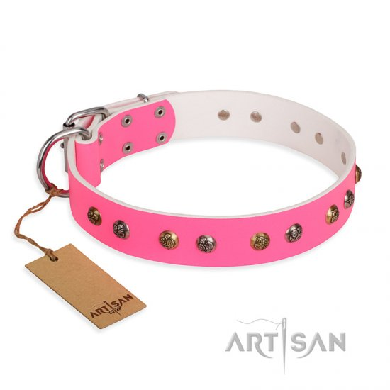"""Sheer love"" Pink Leather FDT Artisan American Bulldog Collar with Old-look Hemisphere Studs"