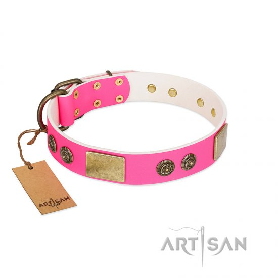 """Queen's Whim"" FDT Artisan Fancy Walking Pink Leather American Bulldog Collar Adorned with Old Bronze-like Plates and Studs"