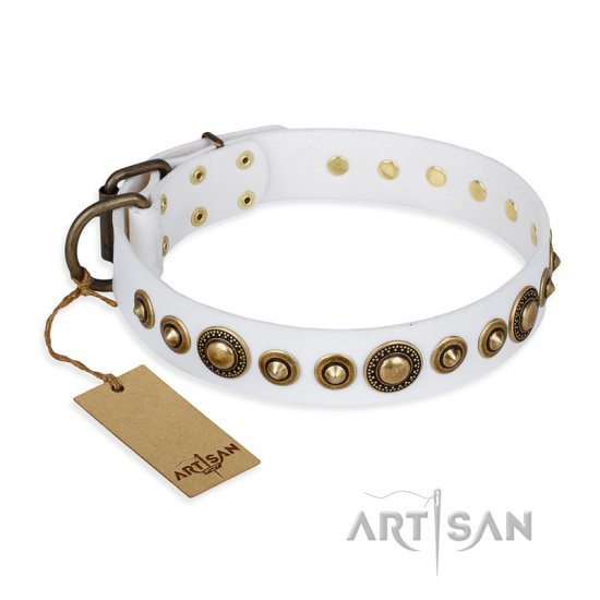 """Swirl of Fashion"" FDT Artisan Delicate White Leather American Bulldog Collar with Stunning Bronze-Plated Round Studs"