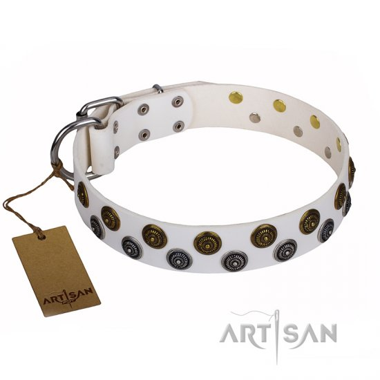 """Snowflake"" FDT Artisan White Leather American Bulldog Collar with Exclusive Design"