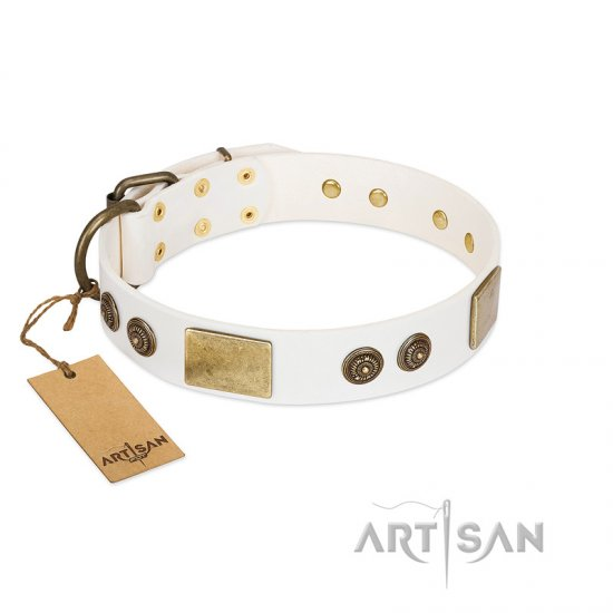 """Sweet Melody"" FDT Artisan White Leather American Bulldog Collar with Plates and Ornamented Studs"