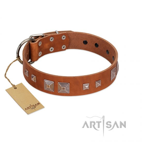 """Egyptian Gifts"" Handmade FDT Artisan Tan Leather American Bulldog Collar with Chrome-plated Pyramids"