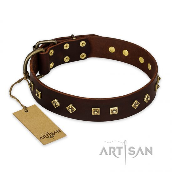 """Fashion Studs"" FDT Artisan Decorated Leather American Bulldog Collar with Old Bronze-Plated Steel Hardware"