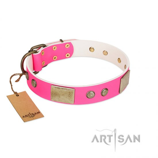 """Flower Parade"" FDT Artisan Pink Leather American Bulldog Collar with Plates and Studs"