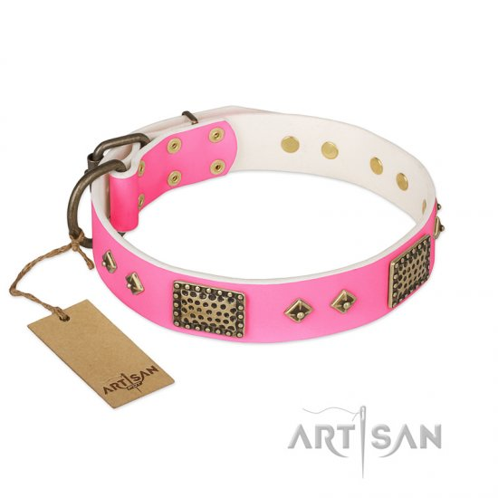 """Frenzy Candy"" FDT Artisan Decorated Pink Leather American Bulldog Collar"