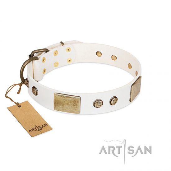 """Pure Elegance "" FDT Artisan White Decorated Leather American Bulldog Collar - 1 1/2 inch (40 mm) wide"