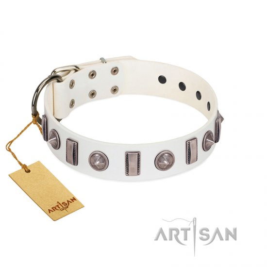 """Icy Spike"" Designer FDT Artisan White Leather American Bulldog Collar with Silver-Like Decorations"