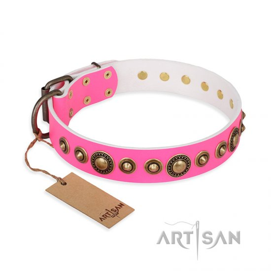 """Pink Gloss"" FDT Artisan Leather American Bulldog Collar with Old-Bronze Plated Circles and Studs"