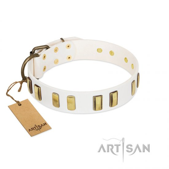 """Glorious Light"" FDT Artisan White Leather American Bulldog Collar with Old Bronze-like Plates"