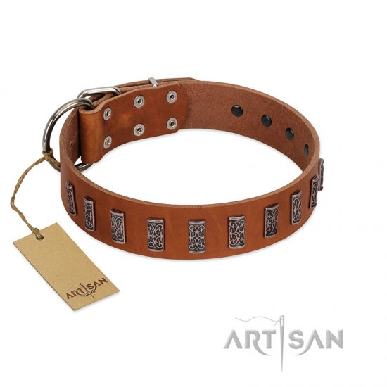 """Silver Century"" Fashionable FDT Artisan Tan Leather American Bulldog Collar with Silver-Like Plates"