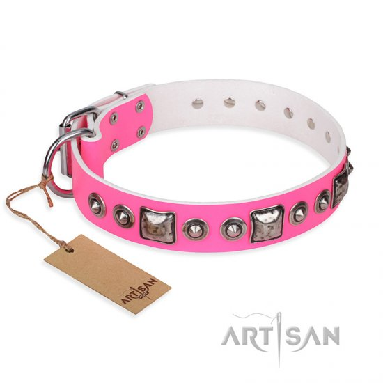"""Pink Dream"" FDT Artisan Leather American Bulldog Collar with Silvery Decorations"