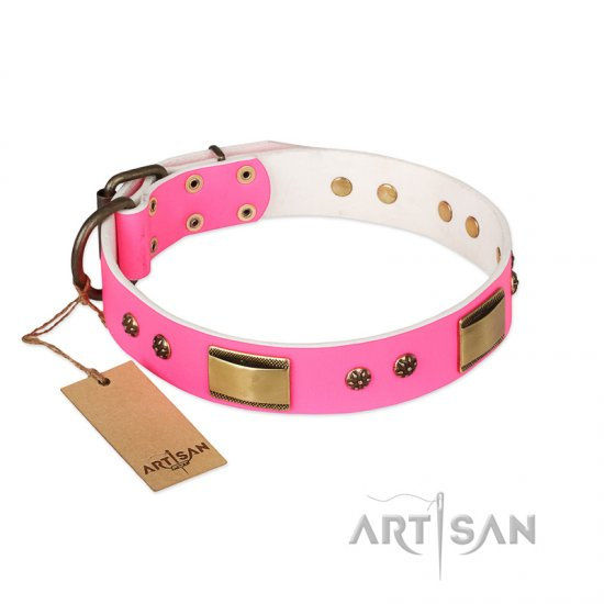 """Pink Daydream"" FDT Artisan Pink Leather American Bulldog Collar with Old Bronze Look Plates and Studs"
