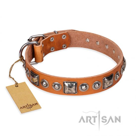 """Era of Future"" FDT Artisan Handcrafted Tan Leather American Bulldog Collar with Decorations"