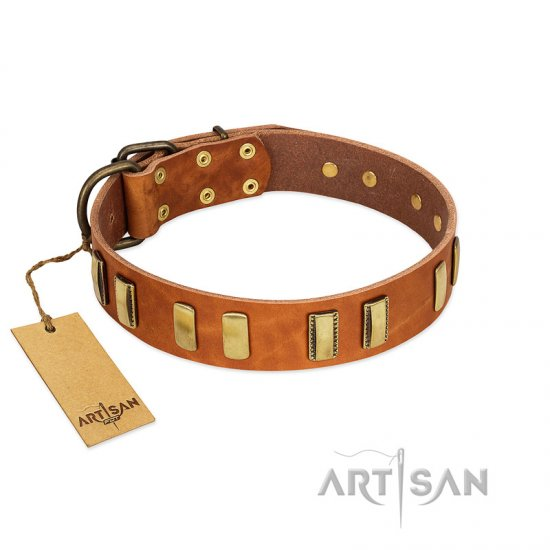 """Olive Slice"" FDT Artisan Tan Leather American Bulldog Collar with Engraved and Smooth Plates"