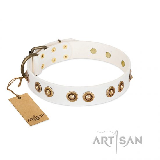 """Moonlit Stroll"" FDT Artisan White Leather American Bulldog Collar with Antique Decorations"