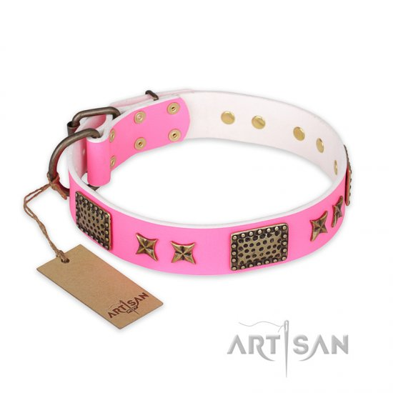 """Tender Pink"" FDT Artisan Leather American Bulldog Collar with Old Bronze Look Stars and Plates"