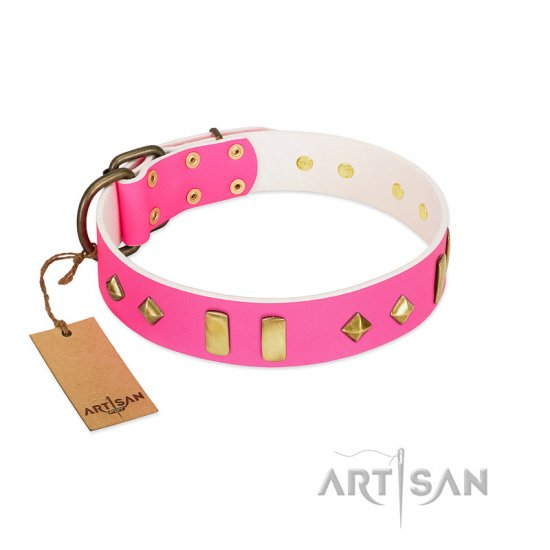 """Gentle Temptation"" FDT Artisan Pink Leather American Bulldog Collar with Goldish Plates and Studs"