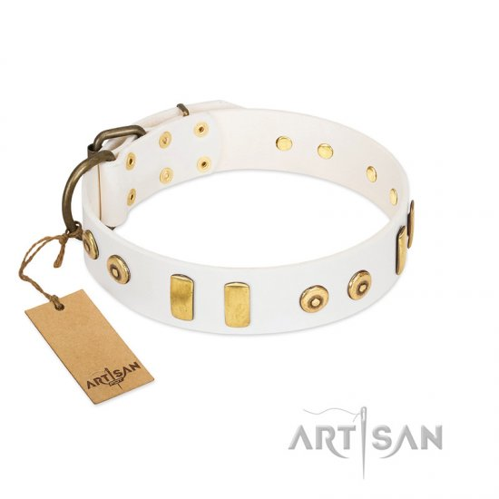"""Golden Union"" Elegant FDT Artisan White Leather American Bulldog Collar with Old Bronze-like Dotted Studs and Tiles"
