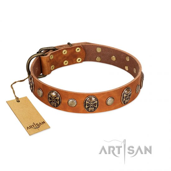 """Call of Feat"" FDT Artisan Tan Leather American Bulldog Collar with Old Bronze-like Studs and Oval Brooches"