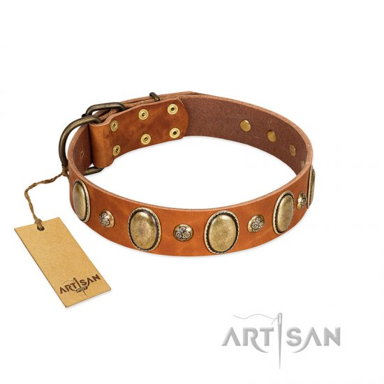 """Venus Breath"" FDT Artisan Tan Leather American Bulldog Collar with Vintage Looking Oval and Round Studs"