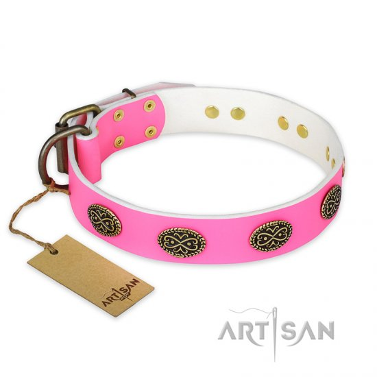 """Forever Fashion"" FDT Artisan Leather American Bulldog Collar with Old Look Plates - 1 1/2 inch (40 mm) wide"