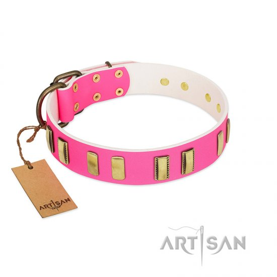 """Rubicund Frill"" FDT Artisan Pink Leather American Bulldog Collar with Engraved and Smooth Plates"