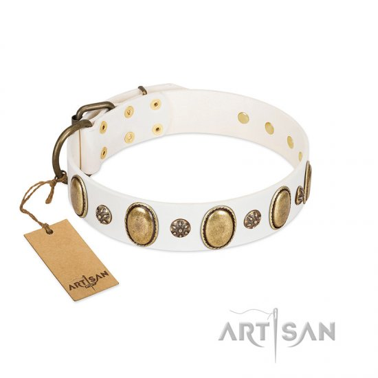 """Nifty Doodad"" FDT Artisan White Leather American Bulldog Collar with Amazing Large Ovals and Small Studs"
