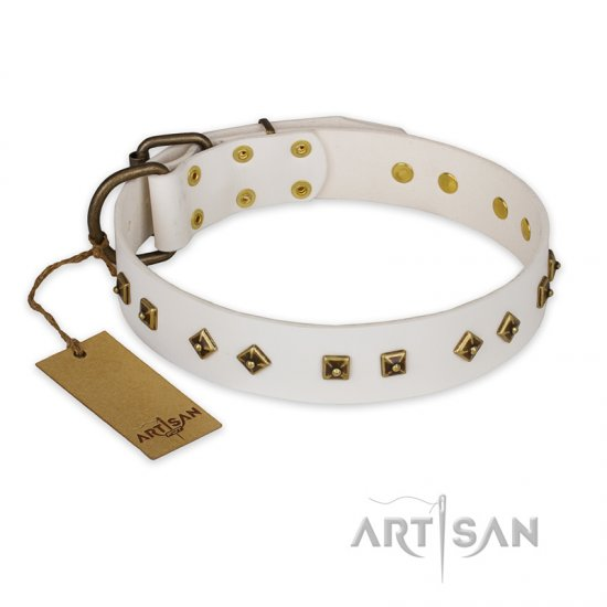 """Snow Cloud"" FDT Artisan White Leather American Bulldog Collar with Square and Rhomb Studs"