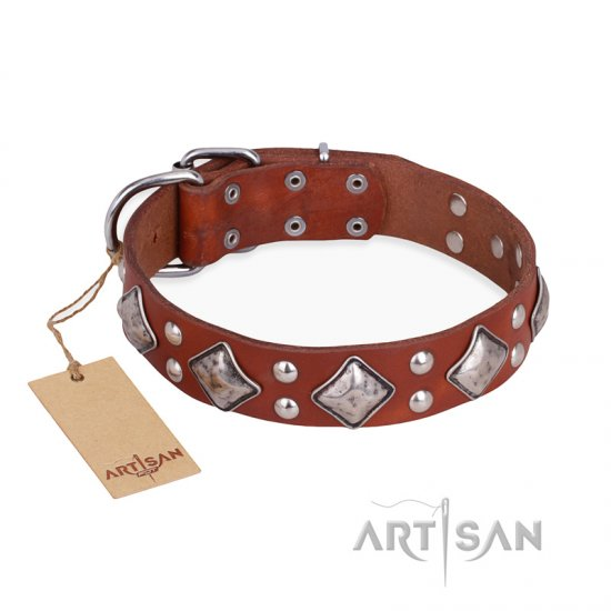 """Magic Squares"" FDT Artisan Tan Leather American Bulldog Collar with Silver-like Decor"