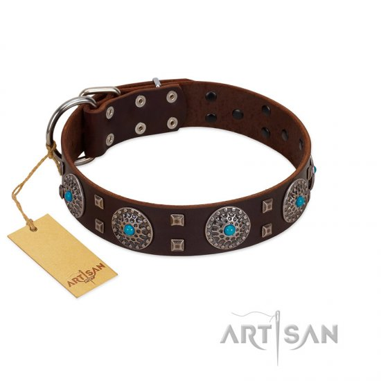 """Hypnotic Stones"" FDT Artisan Brown Leather American Bulldog Collar with Chrome Plated Brooches and Square Studs"