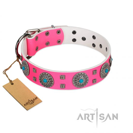 """Pink Delight"" FDT Artisan Pink Leather American Bulldog Collar for Everyday Walking"