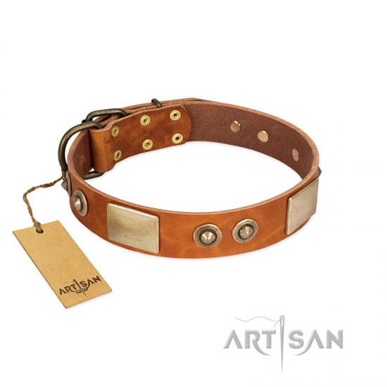 """Perfect Blend"" FDT Artisan Tan Leather American Bulldog Collar 1 1/2 inch (40 mm) wide"