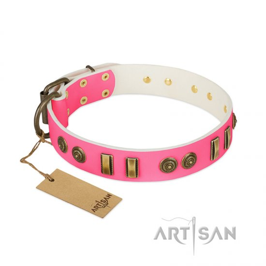 """Pink Amulet"" FDT Artisan Leather American Bulldog Collar with Old Bronze-like Plates and Circles"