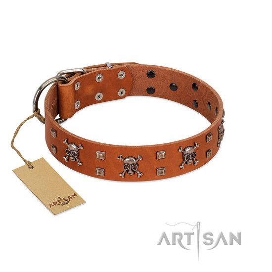 """Rebellious Nature"" FDT Artisan Tan Leather American Bulldog Collar Embellished with Crossbones and Square Studs"