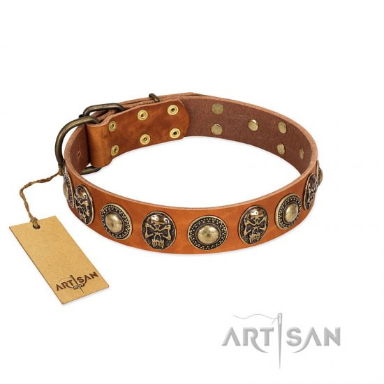 """Golden Epoch"" FDT Artisan Tan Leather American Bulldog Collar with Old Bronze-plated Medallions and Conchos"