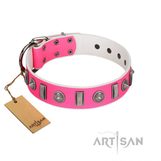 """Treasure Island"" FDT Artisan Pink Leather American Bulldog Collar with Silver-Like Studs"