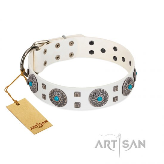 """Blue Sapphire"" Designer FDT Artisan White Leather American Bulldog Collar with Round Plates and Square Studs"