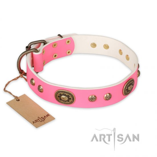 """Sensational Beauty"" FDT Artisan Pink Leather American Bulldog Collar with Old Bronze Look Plates and Studs"