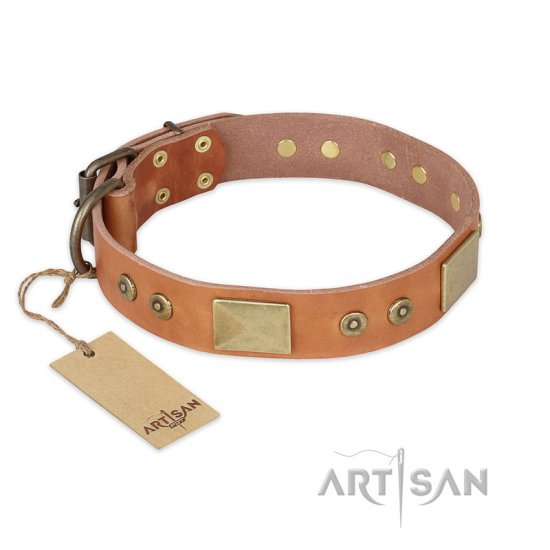 """The Middle Ages"" FDT Artisan Handcrafted Tan Leather American Bulldog Collar"