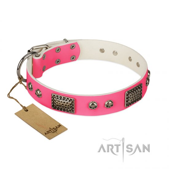 """Fashion Skulls"" FDT Artisan Pink Leather American Bulldog Collar with Old Silver Look Plates and Skulls"