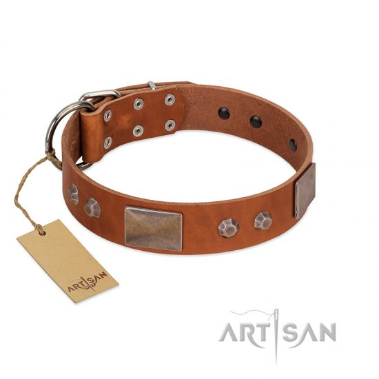 """Great Obelisk"" Handcrafted FDT Artisan Tan Leather American Bulldog Collar with Large Plates and Pyramids"