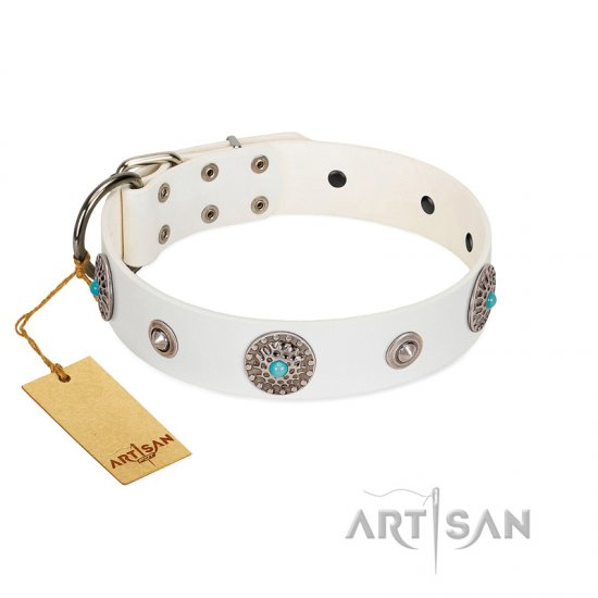 """Lush Life"" Designer Handcrafted FDT Artisan White Leather American Bulldog Collar with Blue Stones"